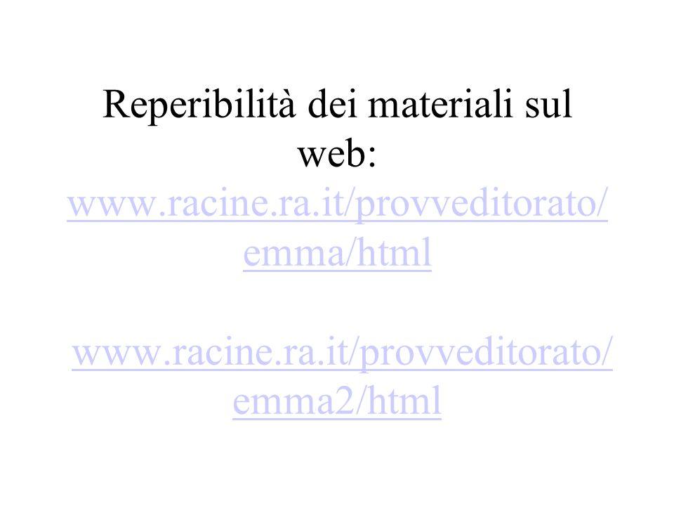 Reperibilità dei materiali sul web: www.racine.ra.it/provveditorato/ emma/html www.racine.ra.it/provveditorato/ emma2/html www.racine.ra.it/provveditorato/ emma/htmlwww.racine.ra.it/provveditorato/ emma2/html