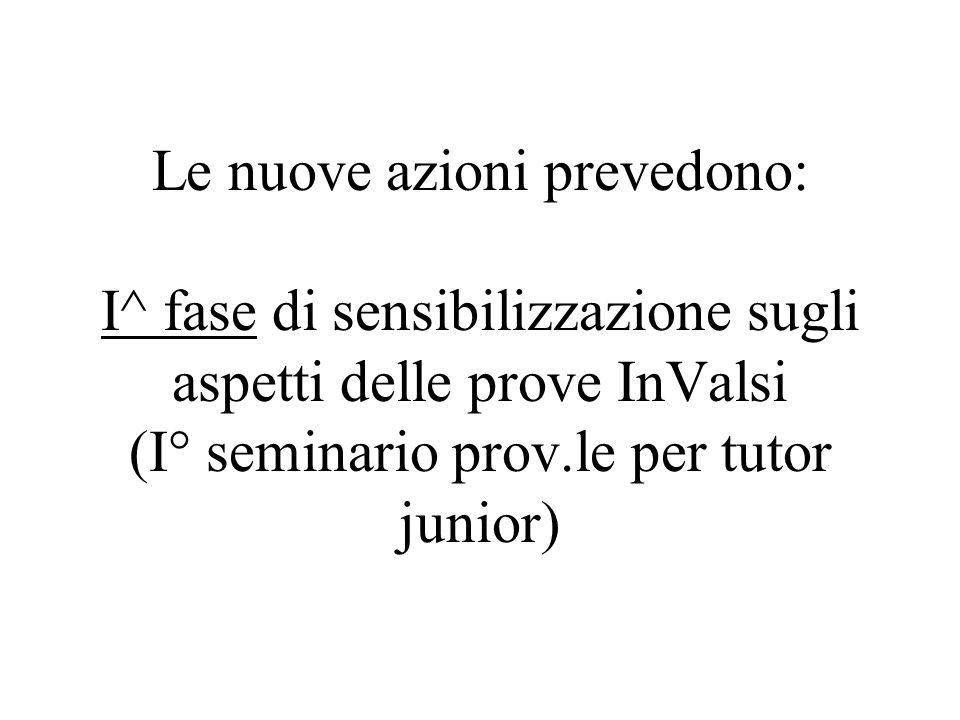 Le nuove azioni prevedono: I^ fase di sensibilizzazione sugli aspetti delle prove InValsi (I° seminario prov.le per tutor junior)