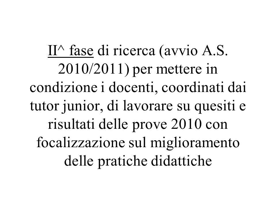 II^ fase di ricerca (avvio A.S. 2010/2011) per mettere in condizione i docenti, coordinati dai tutor junior, di lavorare su quesiti e risultati delle