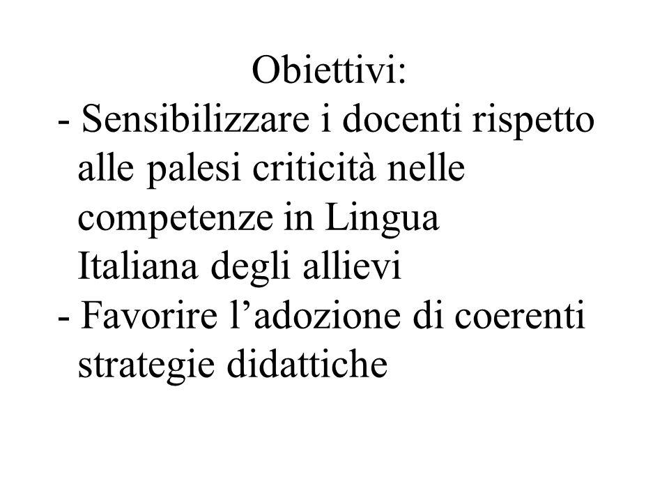 Obiettivi: - Sensibilizzare i docenti rispetto alle palesi criticità nelle competenze in Lingua Italiana degli allievi - Favorire ladozione di coerenti strategie didattiche