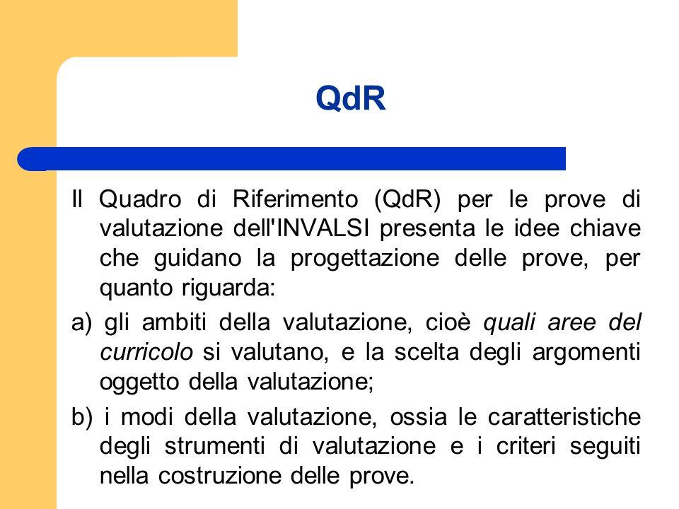 QdR Il Quadro di Riferimento (QdR) per le prove di valutazione dell'INVALSI presenta le idee chiave che guidano la progettazione delle prove, per quan
