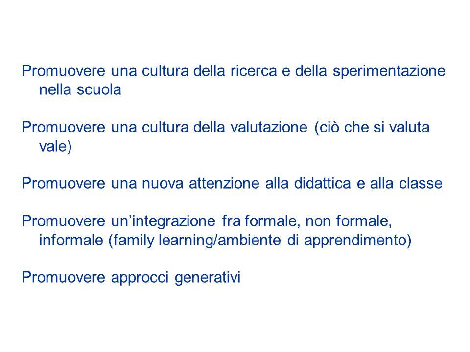 Promuovere una cultura della ricerca e della sperimentazione nella scuola Promuovere una cultura della valutazione (ciò che si valuta vale) Promuovere