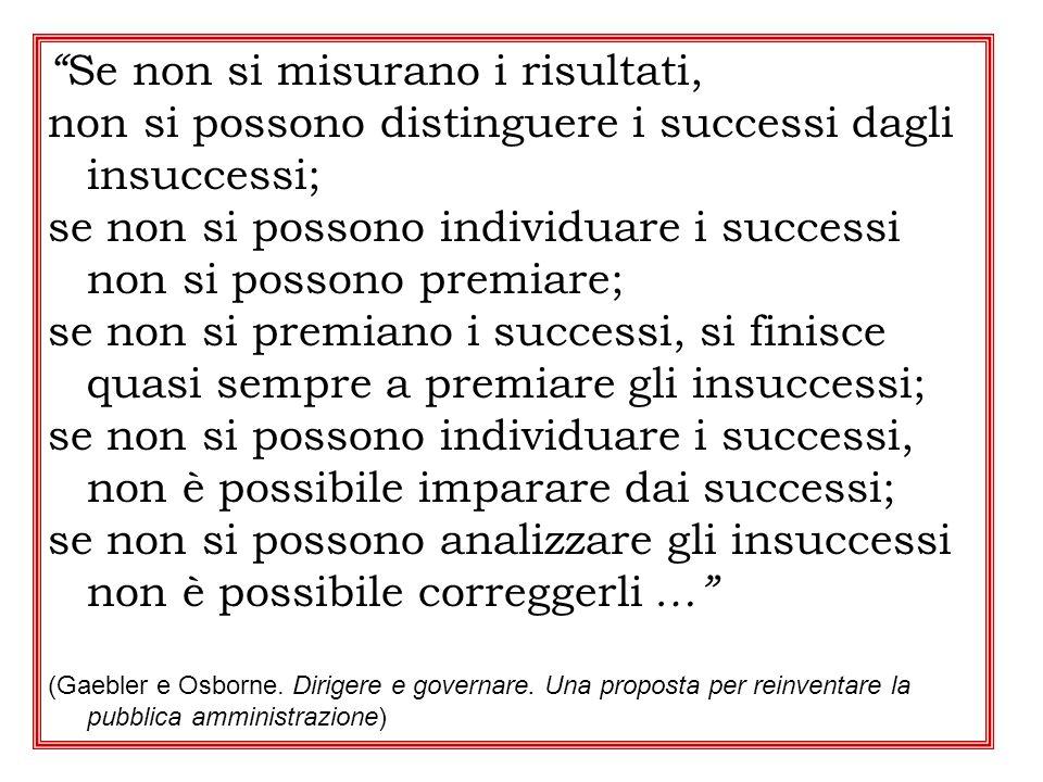 Se non si misurano i risultati, non si possono distinguere i successi dagli insuccessi; se non si possono individuare i successi non si possono premia
