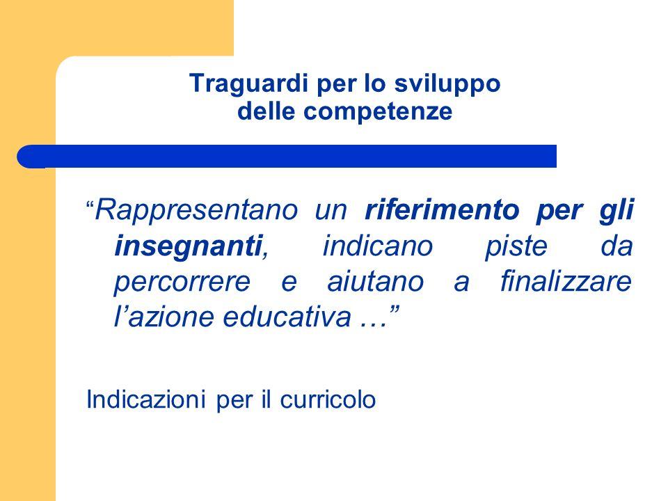 Traguardi per lo sviluppo delle competenze Rappresentano un riferimento per gli insegnanti, indicano piste da percorrere e aiutano a finalizzare lazio