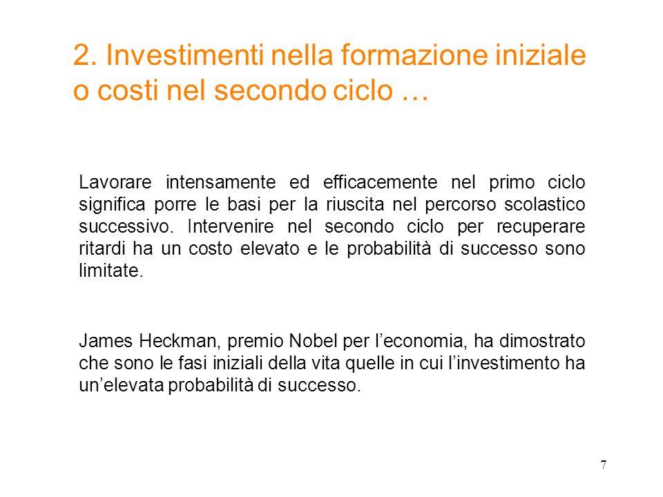 7 2. Investimenti nella formazione iniziale o costi nel secondo ciclo … Lavorare intensamente ed efficacemente nel primo ciclo significa porre le basi