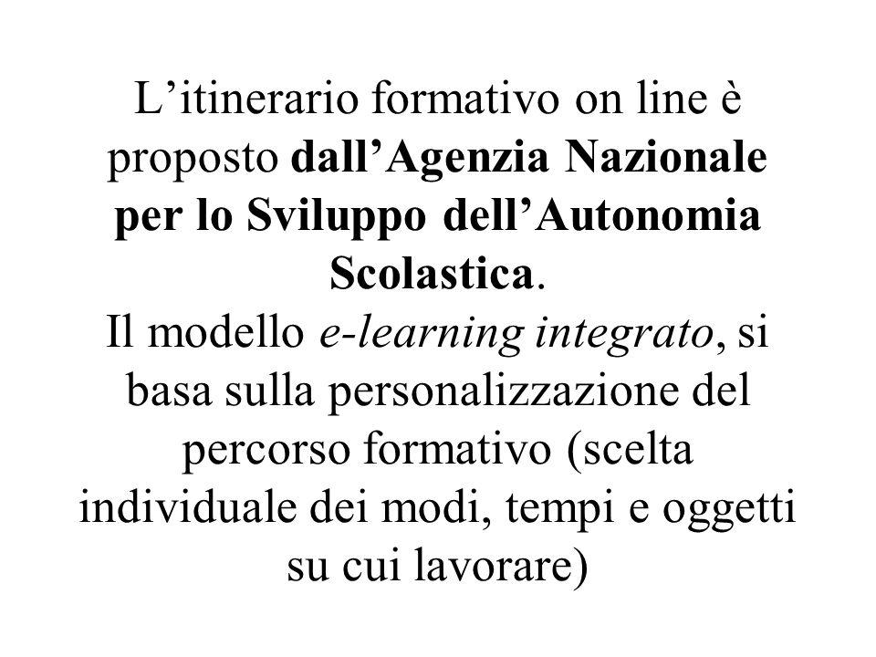 Litinerario formativo on line è proposto dallAgenzia Nazionale per lo Sviluppo dellAutonomia Scolastica. Il modello e-learning integrato, si basa sull