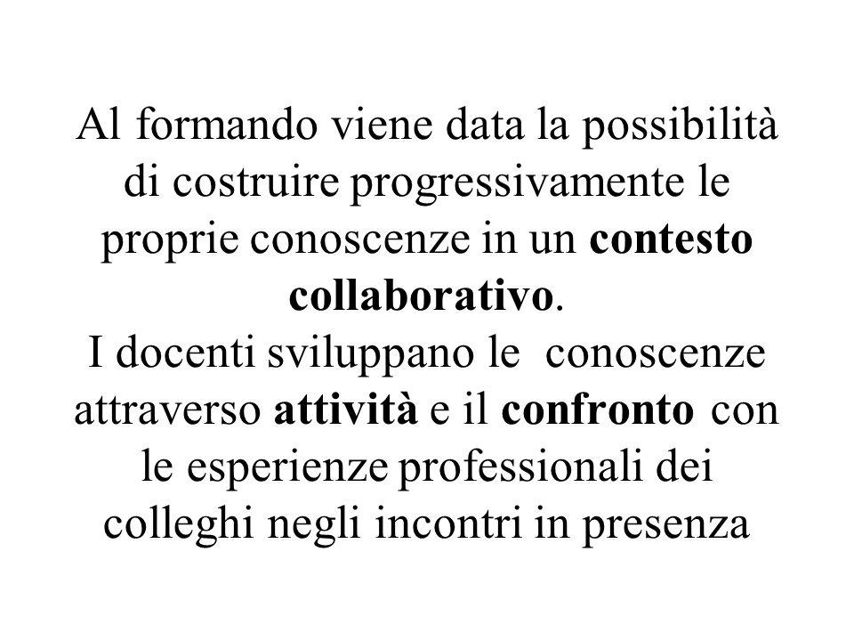 Al formando viene data la possibilità di costruire progressivamente le proprie conoscenze in un contesto collaborativo. I docenti sviluppano le conosc