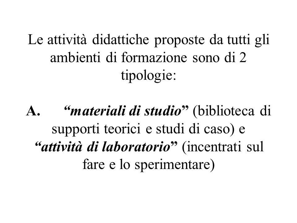 Le attività didattiche proposte da tutti gli ambienti di formazione sono di 2 tipologie: A. materiali di studio (biblioteca di supporti teorici e stud