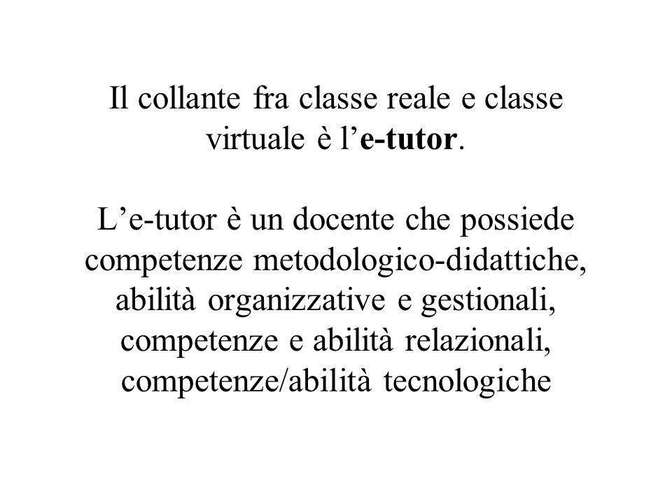 Il collante fra classe reale e classe virtuale è le-tutor. Le-tutor è un docente che possiede competenze metodologico-didattiche, abilità organizzativ