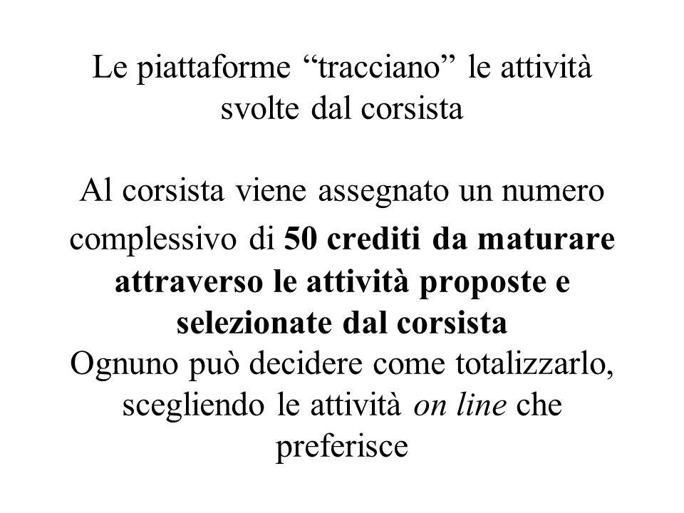 Le piattaforme tracciano le attività svolte dal corsista Al corsista viene assegnato un numero complessivo di 50 crediti da maturare attraverso le att