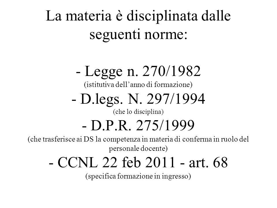 La materia è disciplinata dalle seguenti norme: - Legge n. 270/1982 (istitutiva dellanno di formazione) - D.legs. N. 297/1994 (che lo disciplina) - D.
