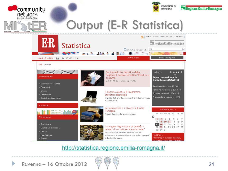 Ravenna – 16 Ottobre 2012 21 Output (E-R Statistica) http://statistica.regione.emilia-romagna.it/