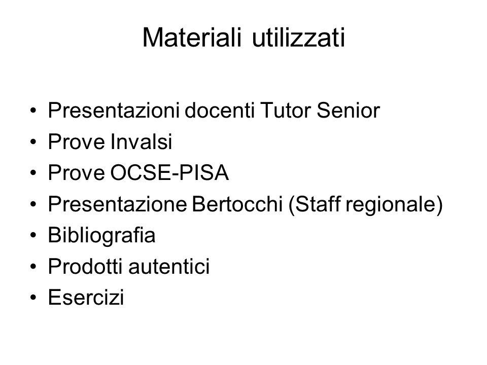 Materiali utilizzati Presentazioni docenti Tutor Senior Prove Invalsi Prove OCSE-PISA Presentazione Bertocchi (Staff regionale) Bibliografia Prodotti