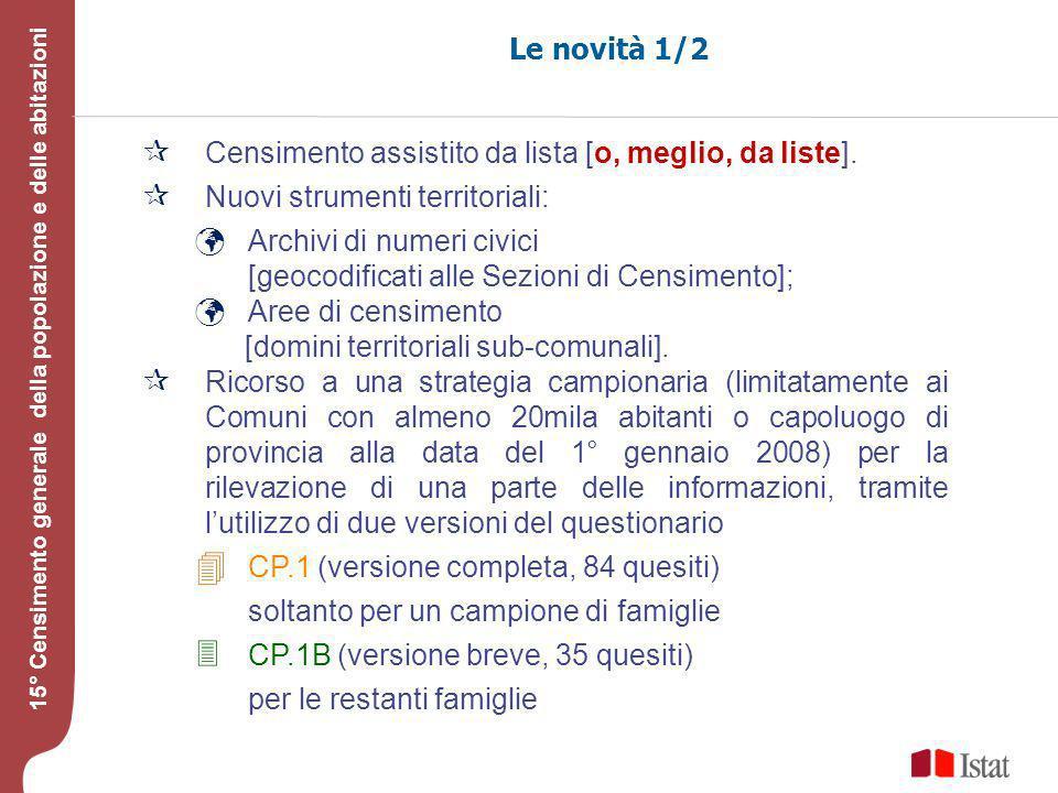 Testo 15° Censimento generale della popolazione e delle abitazioni Le novità 1/2 Censimento assistito da lista [o, meglio, da liste].