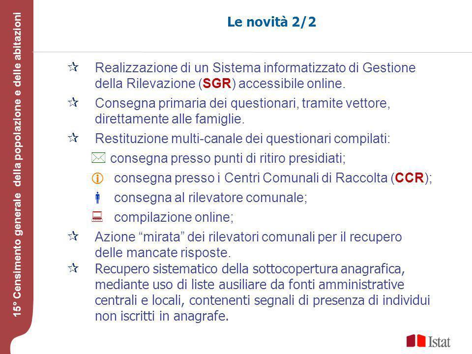 Testo 15° Censimento generale della popolazione e delle abitazioni Le novità 2/2 Realizzazione di un Sistema informatizzato di Gestione della Rilevazione (SGR) accessibile online.