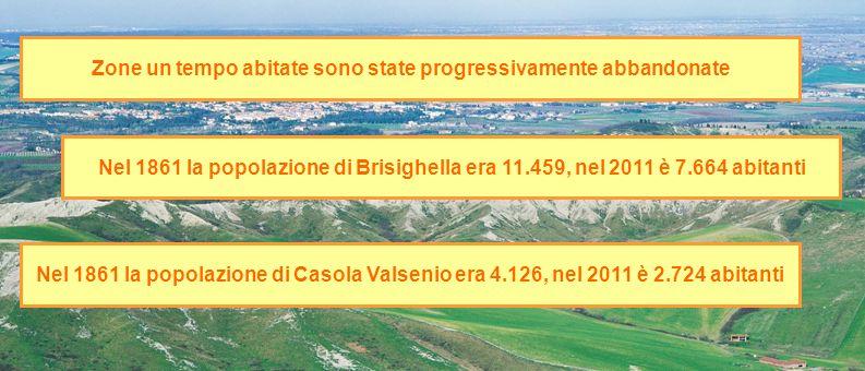 Zone un tempo abitate sono state progressivamente abbandonate Nel 1861 la popolazione di Brisighella era 11.459, nel 2011 è 7.664 abitanti Nel 1861 la