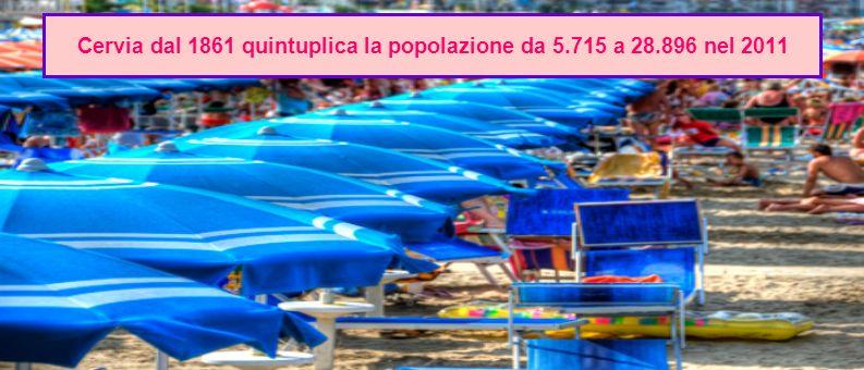 Cervia dal 1861 quintuplica la popolazione da 5.715 a 28.896 nel 2011