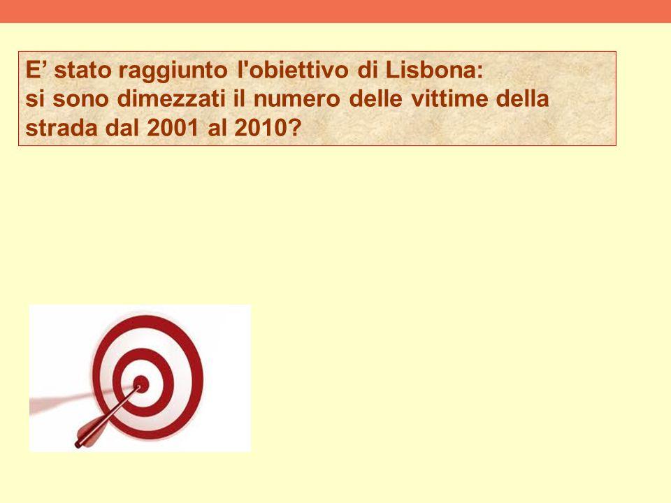 E stato raggiunto l obiettivo di Lisbona: si sono dimezzati il numero delle vittime della strada dal 2001 al 2010