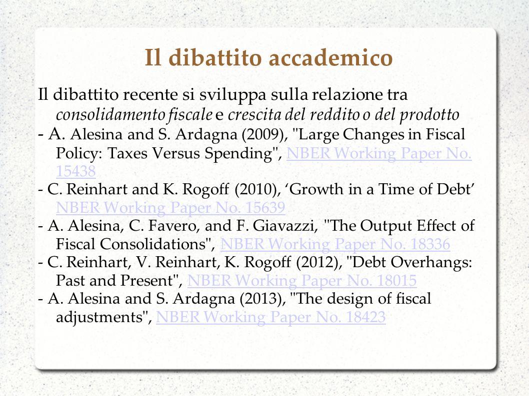 Il dibattito accademico Il dibattito recente si sviluppa sulla relazione tra consolidamento fiscale e crescita del reddito o del prodotto - A.