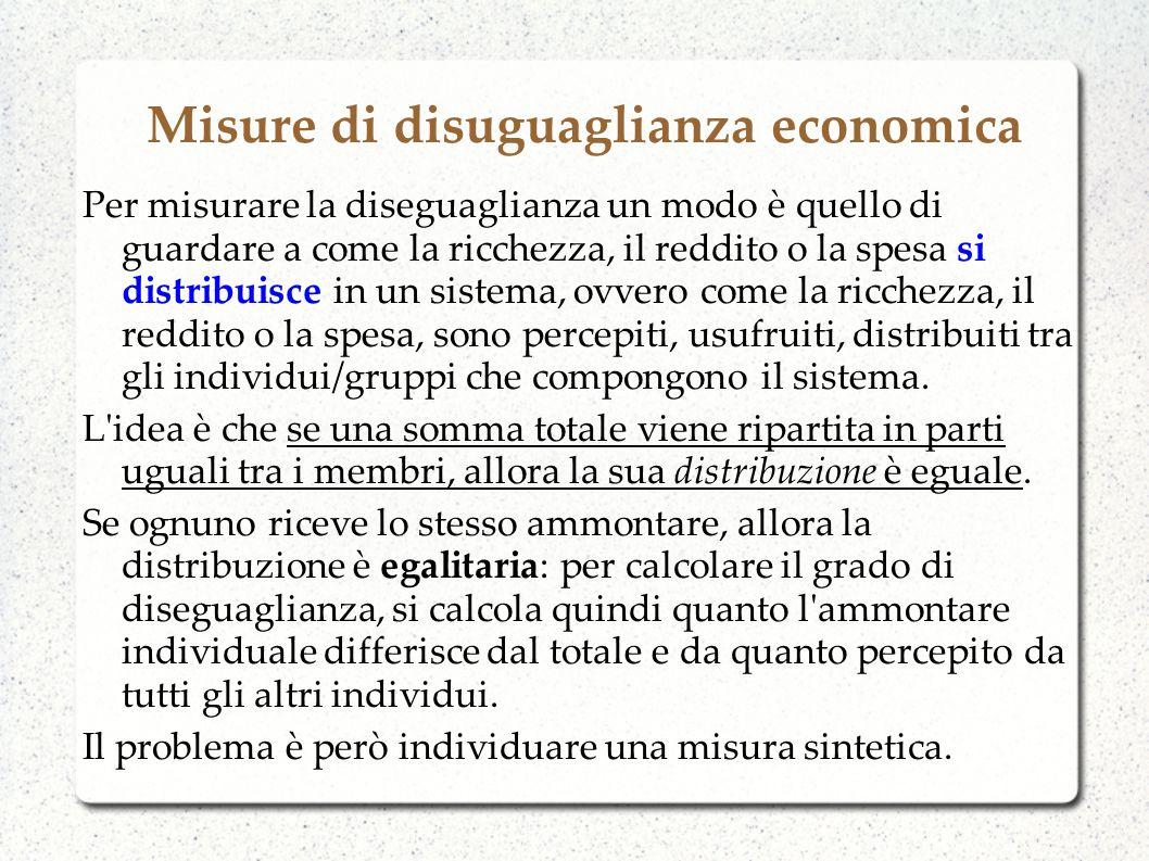 Misure di disuguaglianza economica Per misurare la diseguaglianza un modo è quello di guardare a come la ricchezza, il reddito o la spesa si distribui