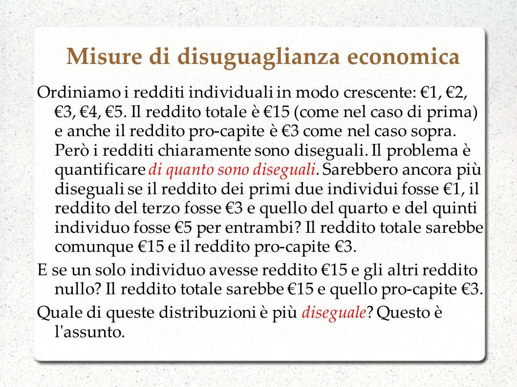 Misure di disuguaglianza economica Ordiniamo i redditi individuali in modo crescente: 1, 2, 3, 4, 5. Il reddito totale è 15 (come nel caso di prima) e