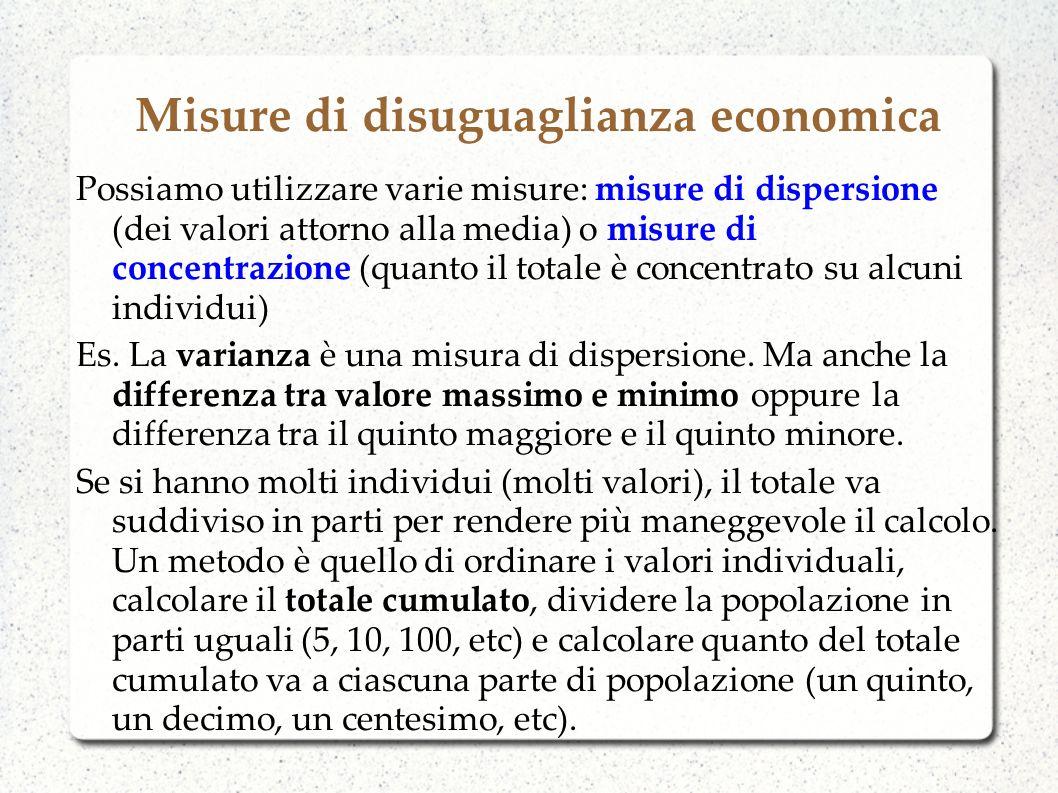 Misure di disuguaglianza economica Possiamo utilizzare varie misure: misure di dispersione (dei valori attorno alla media) o misure di concentrazione