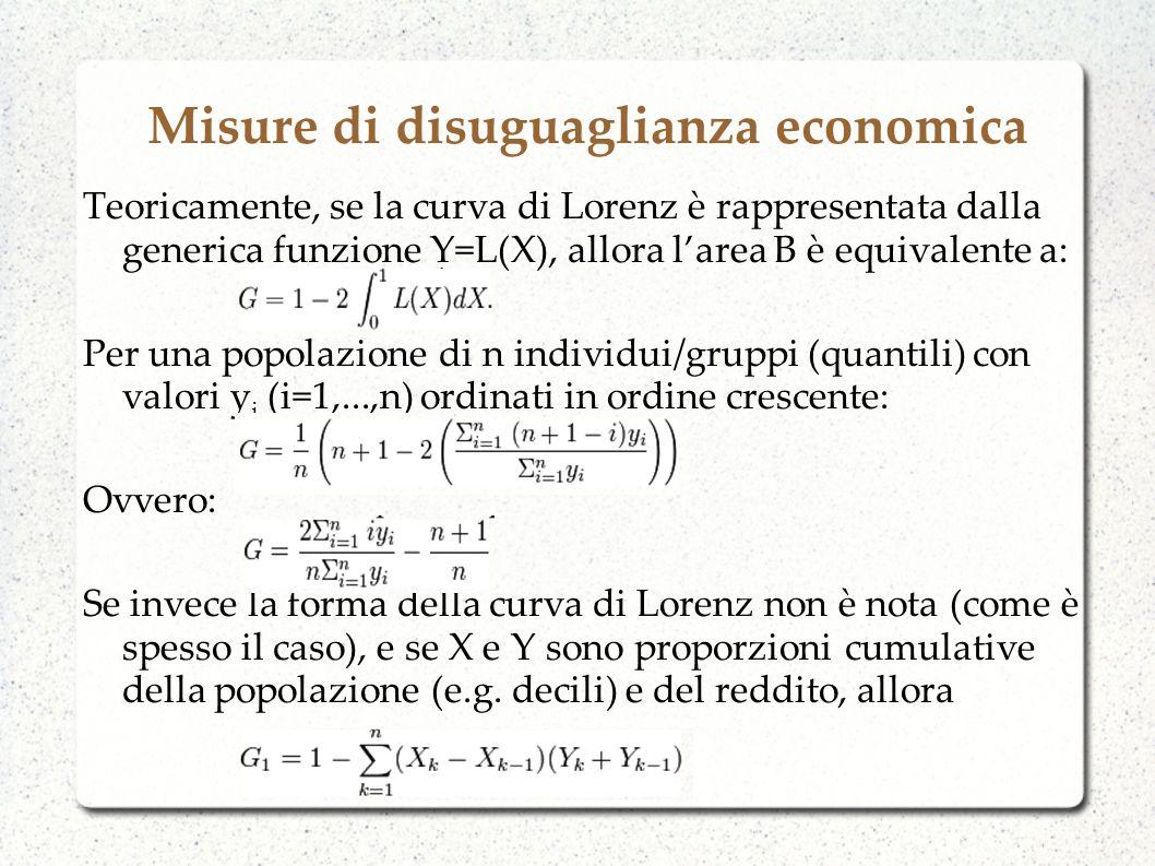 Misure di disuguaglianza economica Teoricamente, se la curva di Lorenz è rappresentata dalla generica funzione Y=L(X), allora larea B è equivalente a: