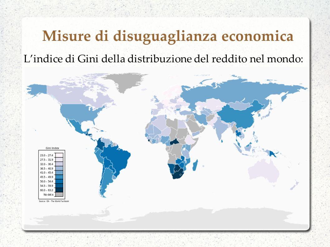 Misure di disuguaglianza economica Lindice di Gini della distribuzione del reddito nel mondo: