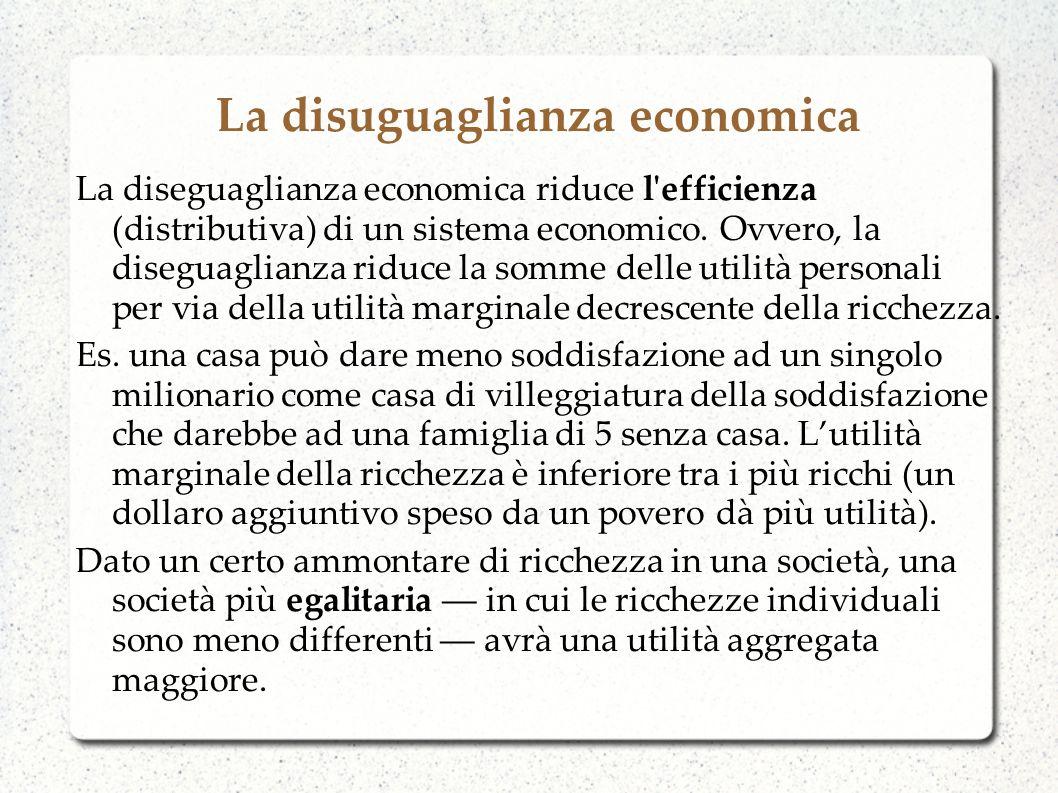 La disuguaglianza economica Cè chi sostiene che una certa diseguaglianza fornisce incentivi a fare di più per diventare più ricchi (non solo per via dellutilità ma per via dello status sociale).