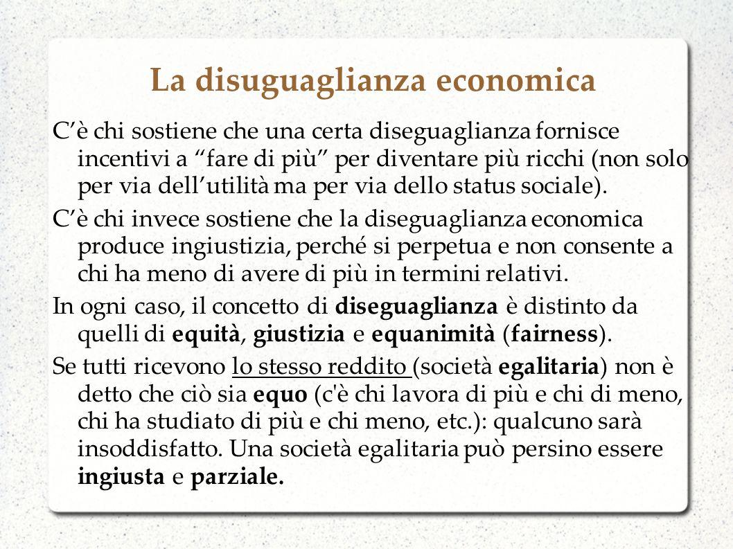 Cause della disuguaglianza economica Se povertà è definita come ammontare di spesa per consumo o reddito individuale inferiore ad un certo livello, la diseguaglianza si definisce come differenza composita di reddito o spesa per consumo tra individui.