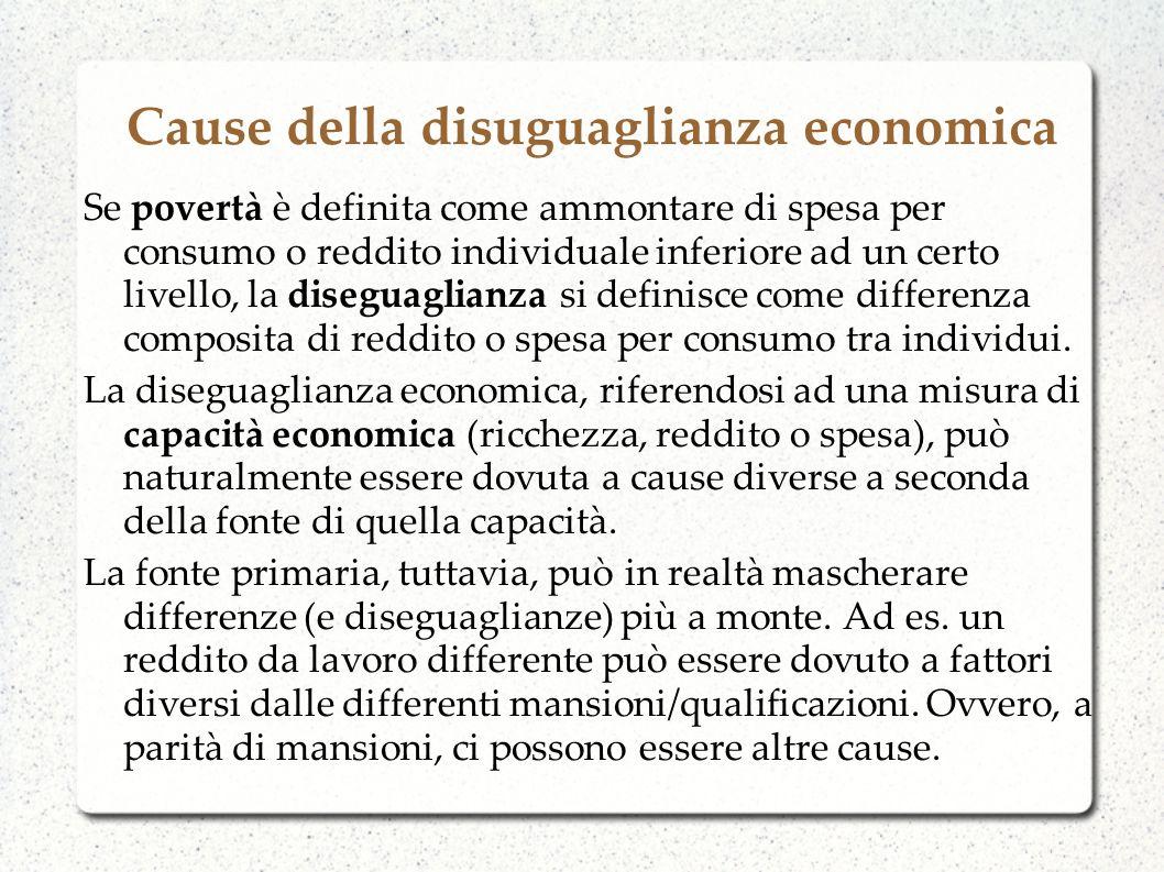 Cause della disuguaglianza economica Se povertà è definita come ammontare di spesa per consumo o reddito individuale inferiore ad un certo livello, la
