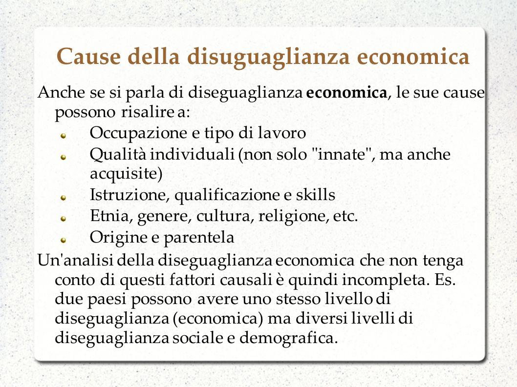 Cause della disuguaglianza economica Non solo ma, tipicamente, due paesi con diversi livelli di diseguaglianza sociale e demografica avranno diversi livelli di diseguaglianza economica.