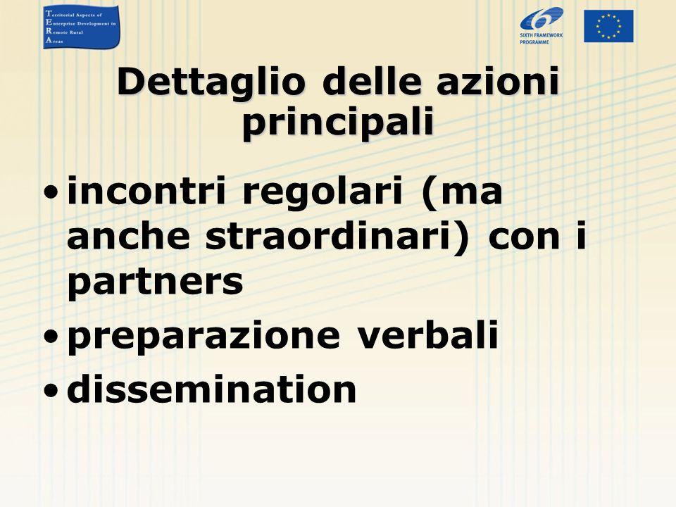 Dettaglio delle azioni principali incontri regolari (ma anche straordinari) con i partners preparazione verbali dissemination