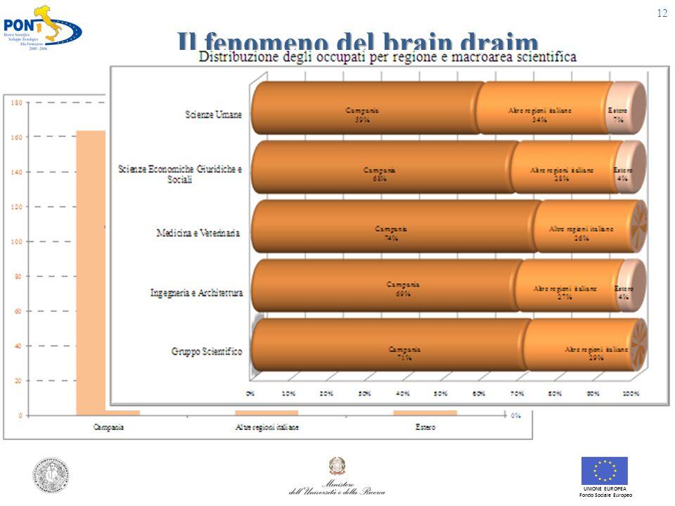 Il fenomeno del brain draim UNIONE EUROPEA Fondo Sociale Europeo 12