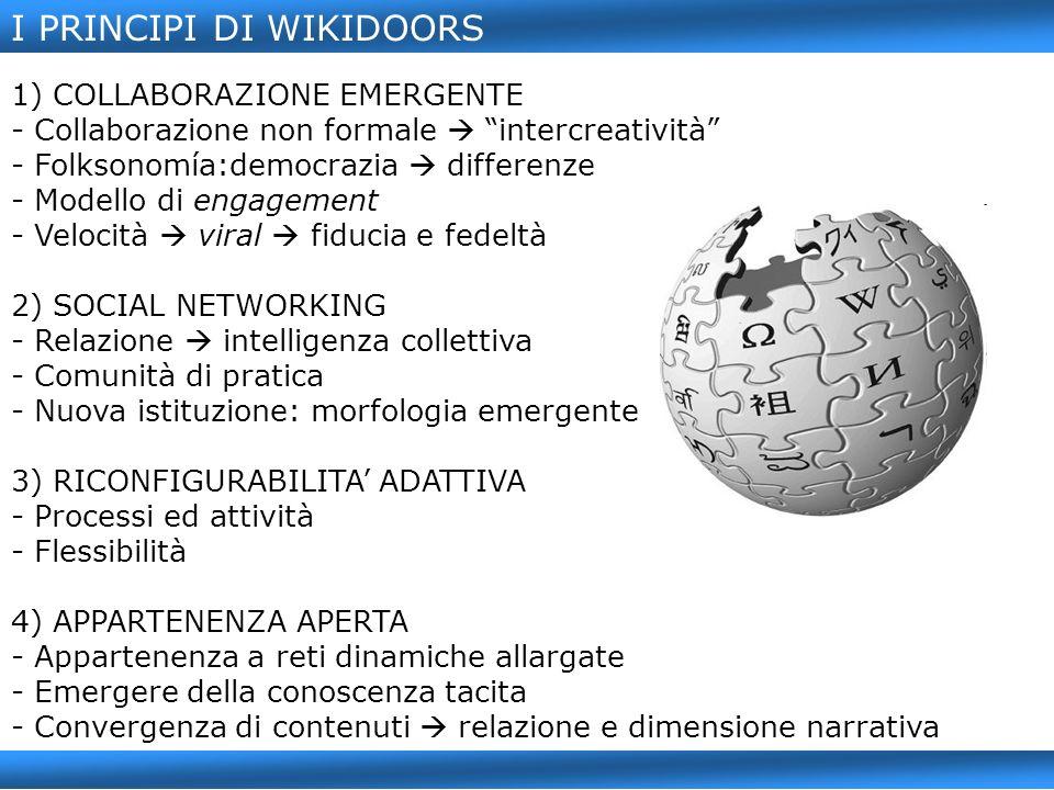 I PRINCIPI DI WIKIDOORS 1) COLLABORAZIONE EMERGENTE - Collaborazione non formale intercreatività - Folksonomía:democrazia differenze - Modello di engagement - Velocità viral fiducia e fedeltà 2) SOCIAL NETWORKING - Relazione intelligenza collettiva - Comunità di pratica - Nuova istituzione: morfologia emergente 3) RICONFIGURABILITA ADATTIVA - Processi ed attività - Flessibilità 4) APPARTENENZA APERTA - Appartenenza a reti dinamiche allargate - Emergere della conoscenza tacita - Convergenza di contenuti relazione e dimensione narrativa