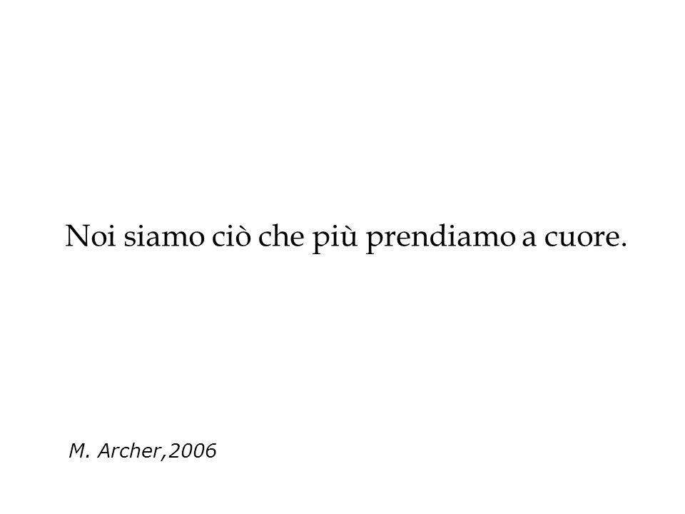 Noi siamo ciò che più prendiamo a cuore. M. Archer,2006