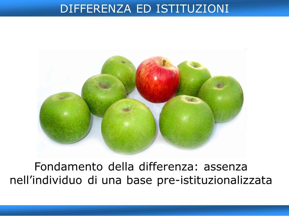DIFFERENZA ED ISTITUZIONI Fondamento della differenza: assenza nellindividuo di una base pre-istituzionalizzata