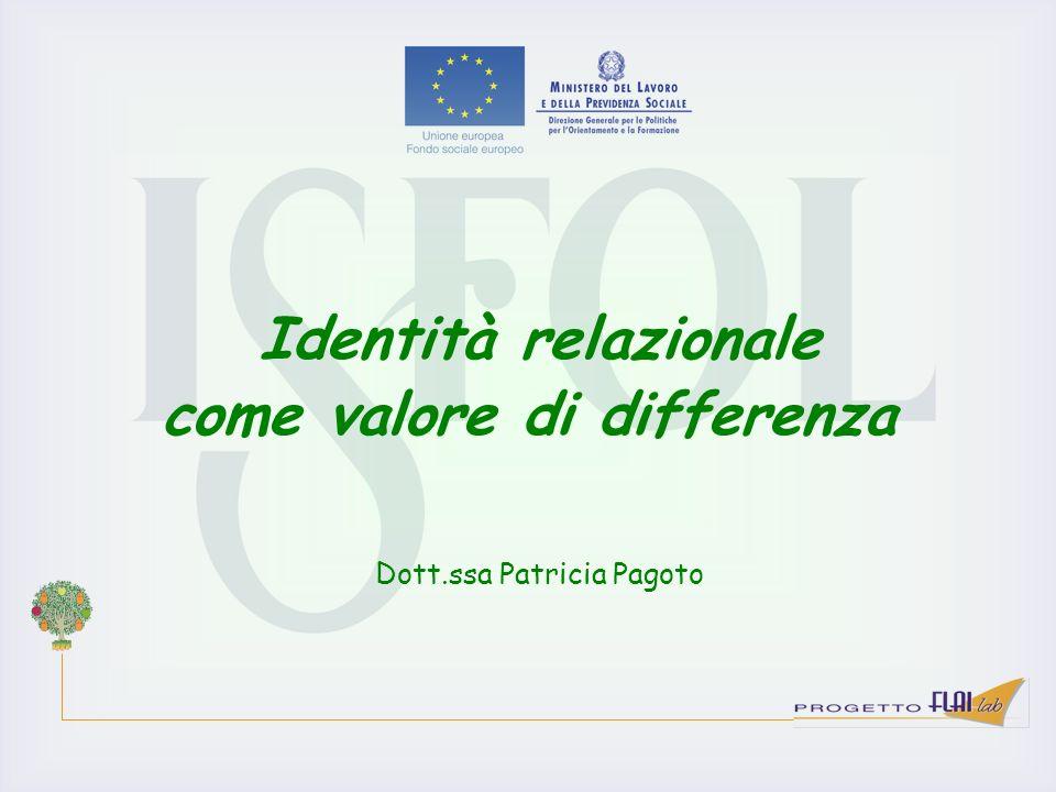 Identità relazionale come valore di differenza Dott.ssa Patricia Pagoto