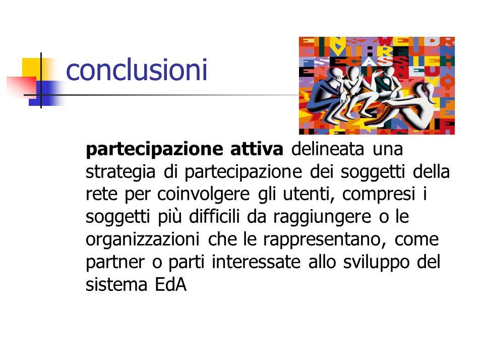 conclusioni partecipazione attiva delineata una strategia di partecipazione dei soggetti della rete per coinvolgere gli utenti, compresi i soggetti pi