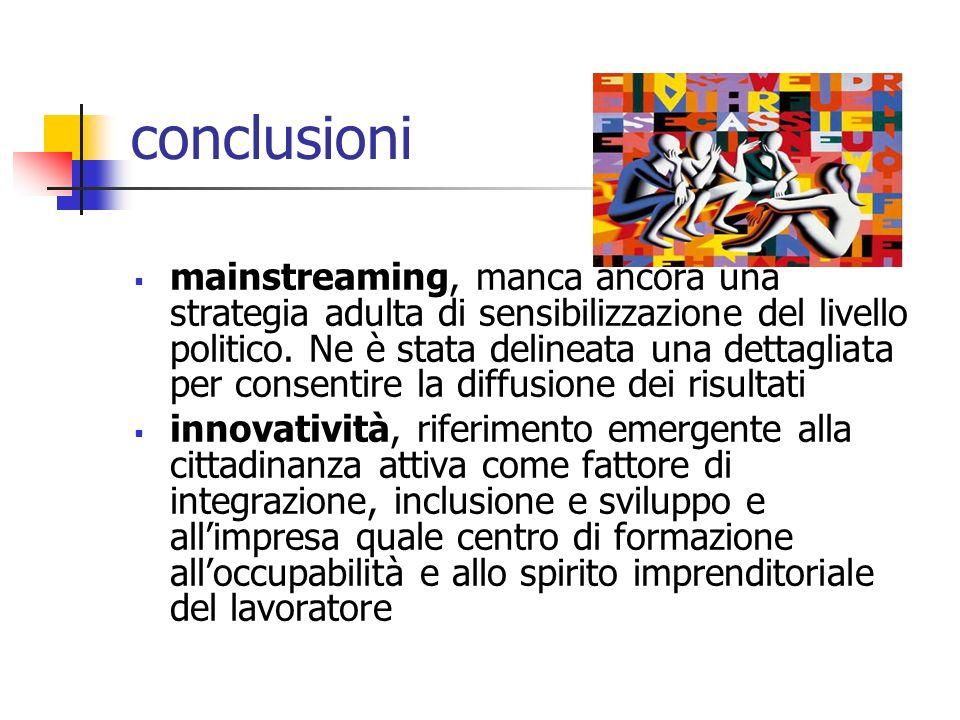 conclusioni mainstreaming, manca ancora una strategia adulta di sensibilizzazione del livello politico. Ne è stata delineata una dettagliata per conse