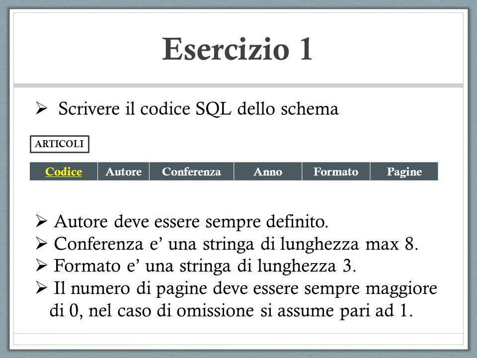 Esercizio 2 Dato il seguente schema: Atleta(Codice, Nome, Cognome, Societa) Gara(CodiceGara, Disciplina, Data, CodiceVincitore) Partecipazione(CodiceGara, CodiceAtleta) SELECT SOCIETA, COUNT(*) AS NUMERO FROM ATLETA GROUPBY SOCIETA