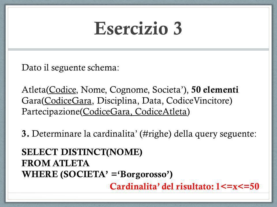 Esercizio 3 Dato il seguente schema: Atleta(Codice, Nome, Cognome, Societa), 50 elementi Gara(CodiceGara, Disciplina, Data, CodiceVincitore) Partecipa