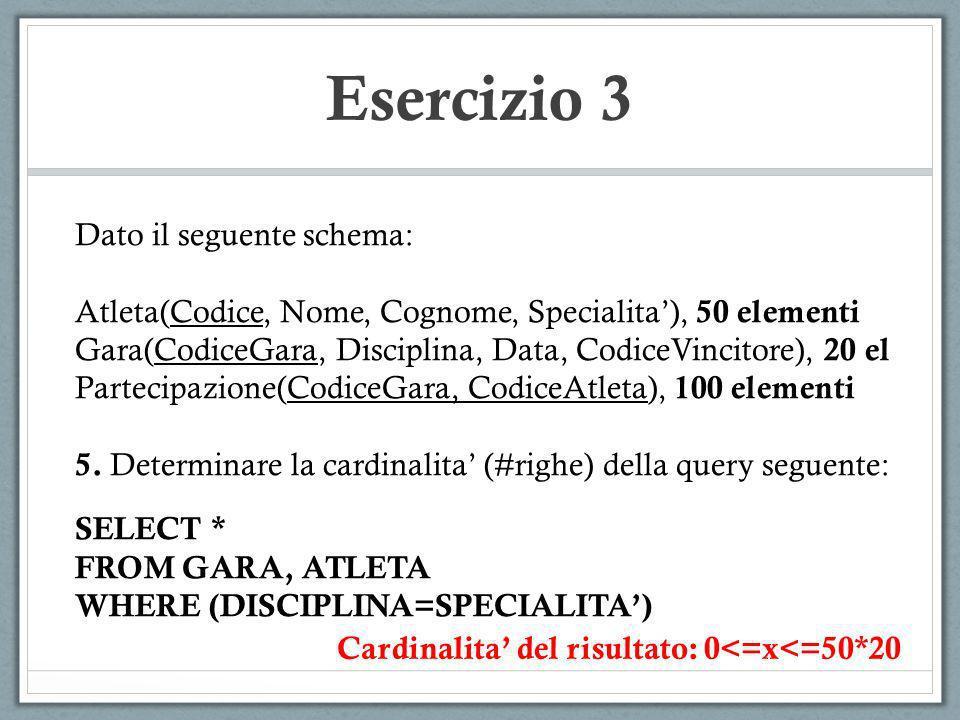 Esercizio 3 Dato il seguente schema: Atleta(Codice, Nome, Cognome, Specialita), 50 elementi Gara(CodiceGara, Disciplina, Data, CodiceVincitore), 20 el