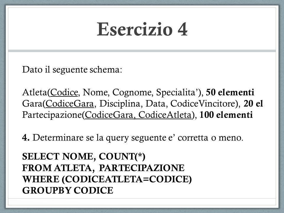 Esercizio 4 Dato il seguente schema: Atleta(Codice, Nome, Cognome, Specialita), 50 elementi Gara(CodiceGara, Disciplina, Data, CodiceVincitore), 20 el
