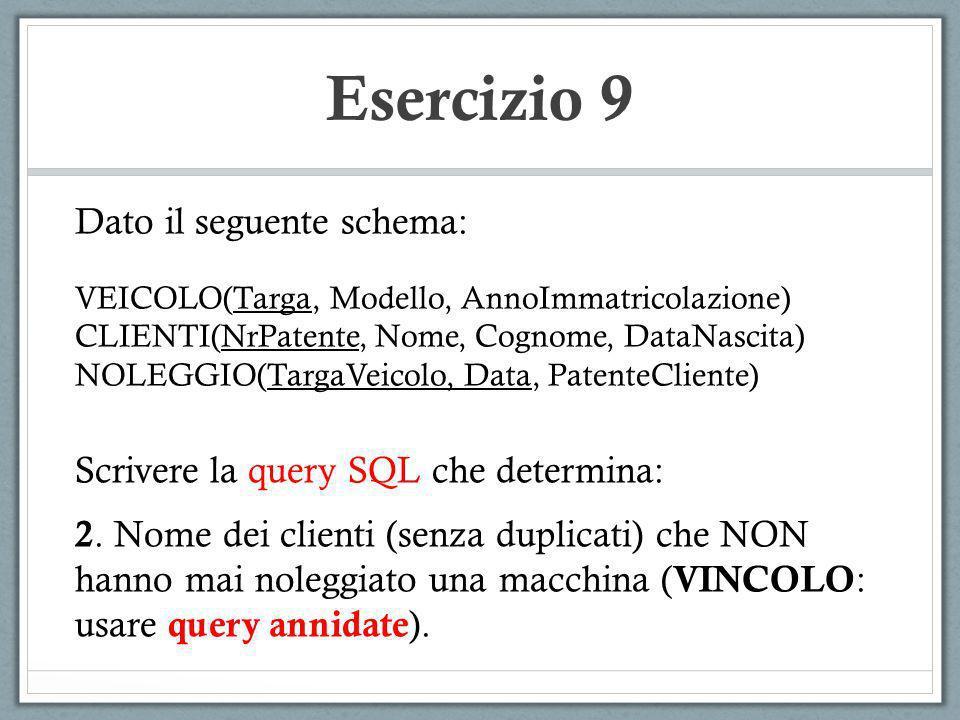 Esercizio 9 Dato il seguente schema: VEICOLO(Targa, Modello, AnnoImmatricolazione) CLIENTI(NrPatente, Nome, Cognome, DataNascita) NOLEGGIO(TargaVeicol