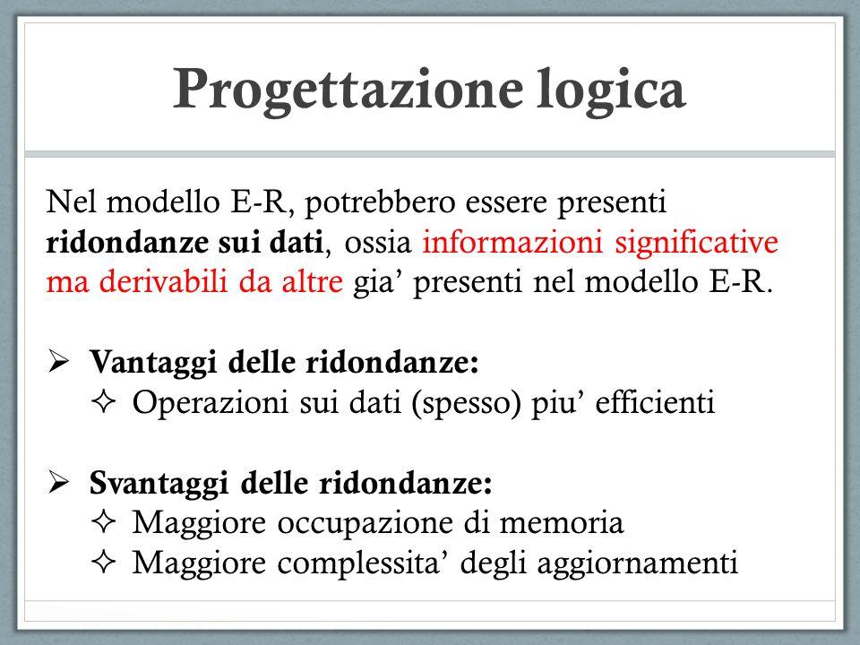 Nel modello E-R, potrebbero essere presenti ridondanze sui dati, ossia informazioni significative ma derivabili da altre gia presenti nel modello E-R.