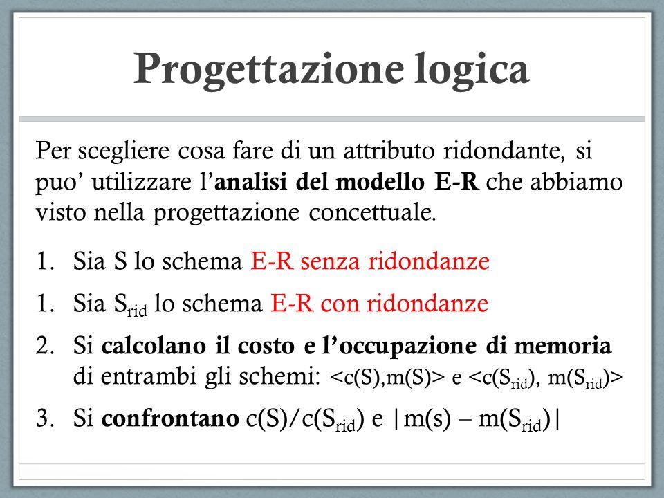 Progettazione logica Per scegliere cosa fare di un attributo ridondante, si puo utilizzare l analisi del modello E-R che abbiamo visto nella progettaz