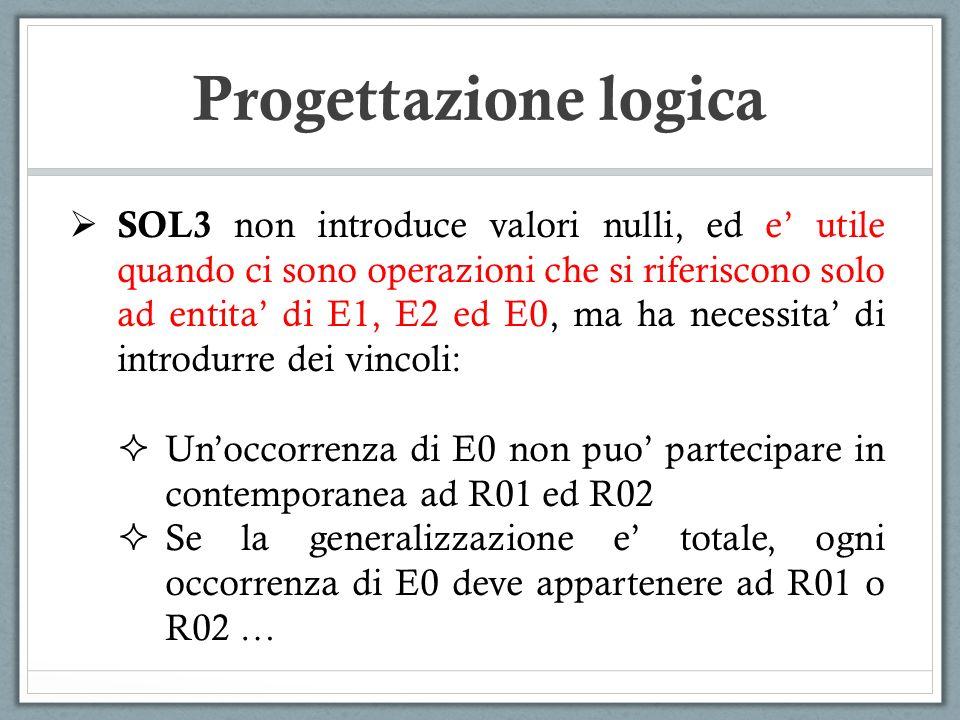 SOL3 non introduce valori nulli, ed e utile quando ci sono operazioni che si riferiscono solo ad entita di E1, E2 ed E0, ma ha necessita di introdurre