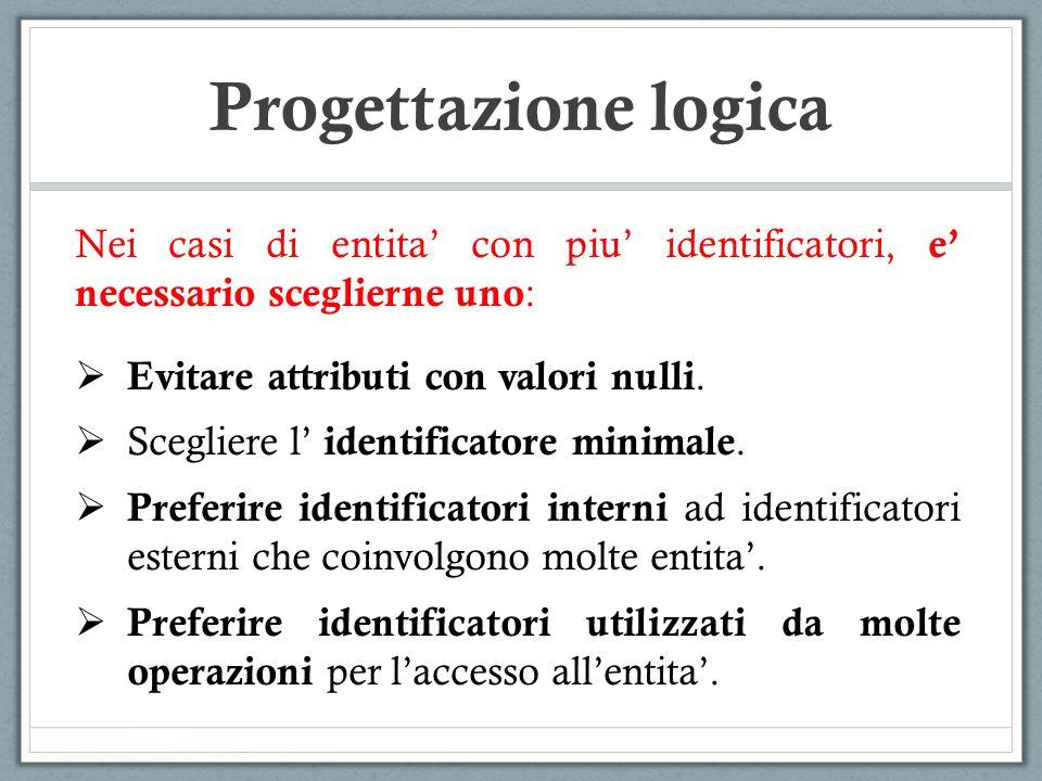 Nei casi di entita con piu identificatori, e necessario sceglierne uno : Evitare attributi con valori nulli. Scegliere l identificatore minimale. Pref