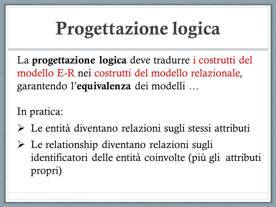 La progettazione logica deve tradurre i costrutti del modello E-R nei costrutti del modello relazionale, garantendo l equivalenza dei modelli … In pra